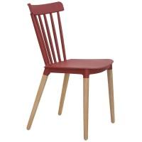 Sedia con gambe in legno, scocca in polipropilene (4 pcs)