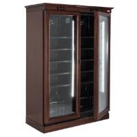 Espositore verticale rivestito in legno a doppia anta a refrigerazione ventilata per vino