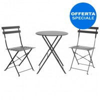 Set tavolo + 2 sedie con struttura pieghevole in metallo verniciato colore Antracite