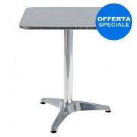 Tavolo con base in alluminio, piano in acciaio inox, mis. mm. 600x600x730 H