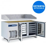 Tavolo da laboratorio per pizza, 2 porte (TN 0/+8°C) con piano in granito - 1450x830x1010h mm