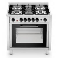 Cucina inox a gas 5 fuochi, forno elettrico ventilato a convezione. Potenza bruciatori 14,3 kW