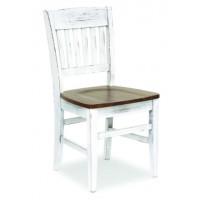 Sedia in legno di pino con sedile in legno, fusto laccato bianco