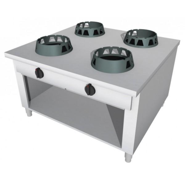 Cucina Wok a Gas in acciaio inox, 4 fuochi. Modello da centro sala...