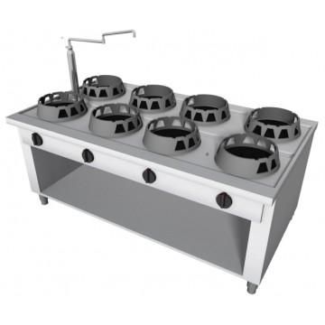 Cucina Wok a Gas in acciaio inox, 8 fuochi. Modello da centro sala...