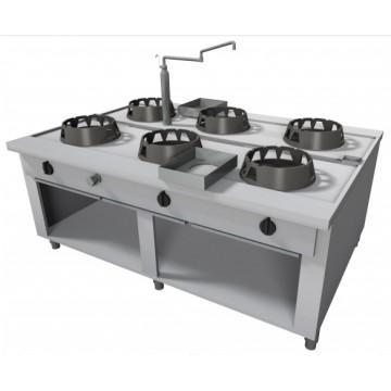 Cucina Wok a Gas in acciaio inox, 6 fuochi. Modello da centro sala...