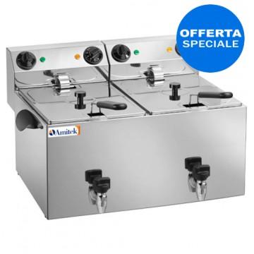 Friggitrice elettrica da banco in acciaio inox. Capacità olio 6+6 Litri. Potenza 3250+3250 W
