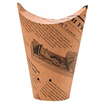Contenitore in cartone stampa giornale avana con fori 600 ml. (1000 pcs)