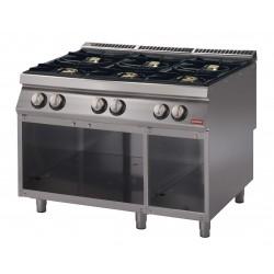 Cucina a gas su vano aperto, 6 fuochi, bacinelle smaltate. potenza totale 25,8 kW