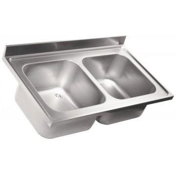 Lavello in acciaio inox - 2 vasche - PROF. 70 cm