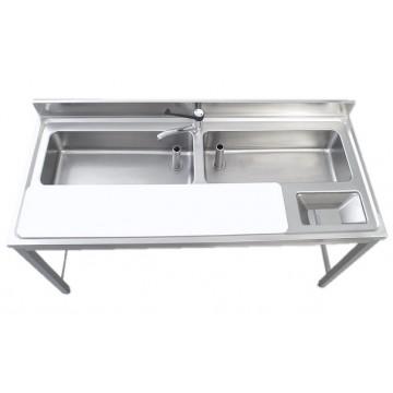 Lavello inox su mobile aperto per cernita verdure - 2 vasche -...