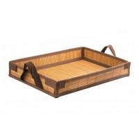 Vassoio bambù intrecciato, apribile, salva spazio, riutilizzabile 43 x 29 cm (25 pcs)
