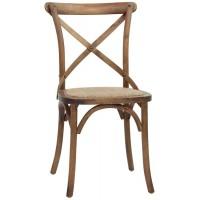 Sedia con struttura in legno, effetto anticato, seduta in rattan (8 pcs)