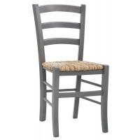 Sedia con struttura in legno, seduta impagliata (2 pcs)