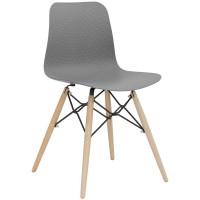 Sedia con struttura in metallo e legno, scocca in polipropilene (4 pcs)