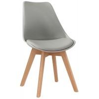 Sedia con struttura in legno, scocca in polipropilene, cuscino in ecopelle (2 pcs)