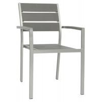 Poltroncina con struttura in alluminio satinato, seduta e schienale in materiale composito (5 pcs)