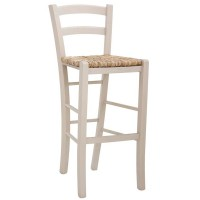 Sgabello con struttura in legno, seduta impagliata (2 pcs)