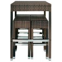 Set Tavolo + 4 Sgabelli in alluminio, rivestimento in filo di polietilene