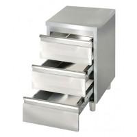 Cassettiera in acciaio inox a 3 cassetti