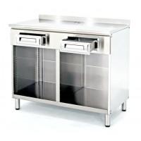 Mobile macchina caffè inox con cassetto normale, divisorio centrale + 2 vani a giorno