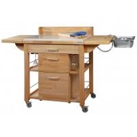 Carrello da cucina completo a servire, in legno di faggio. Dimensioni aperto 140x60x95h cm