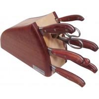 Ceppo Onda 8 pezzi Coltelli Forgiati con manicatura legno di bubinga