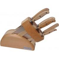 Ceppo Artù 6 pezzi Coltelli Forgiati con manicatura legno di frassino