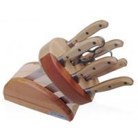 Ceppo Artù 8 pezzi Coltelli Forgiati con manicatura legno di frassino
