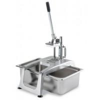 Tagliapatate fritte manuale in lega leggera inox. Spessore taglio 10 mm. Produzione 100-150 Kg/h